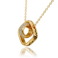 Real 18K Gold Plated Crystal Pave Square and Circle Necklace